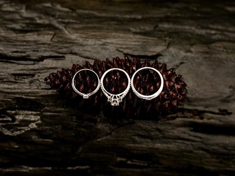 Bộ ba chiếc nhẫn cưới được chỉnh màu cực đẹp