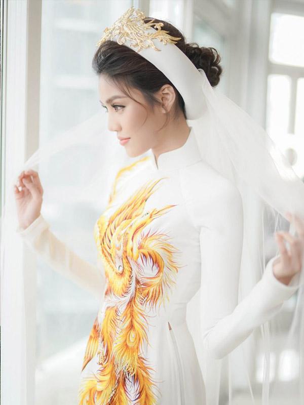 áo dài cưới gấm trắng